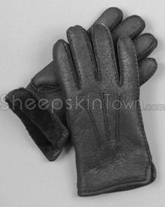 Mens Gloves - Black Shearling Sheepskin Napa Leather