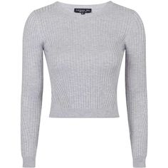 TOPSHOP TALL Travelling Rib Jumper featuring polyvore, fashion, clothing, tops, sweaters, crop tops, grey marl, gray top, topshop, ribbed crop top, tall sweaters and crop top