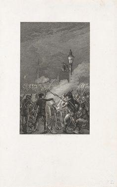 Reinier Vinkeles | Fransen beschieten de vluchtende troepen op de Gierbrug, 1794, Reinier Vinkeles, 1799 - 1801 | Fransen troepen beschieten de vluchtende Hollandse en Britse troepen die via de schipbrug de Gierbrug over de Waal de overzijde proberen te bereiken, 7 november 1794.