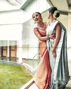To the Most Beautiful Bond! Indian Wedding Poses, Indian Wedding Photography Poses, Girl Photography Poses, Punjabi Wedding, Indian Weddings, Romantic Weddings, South Indian Bride Saree, Indian Bridal Sarees, Indian Bridal Fashion