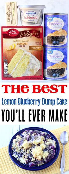 Dessert Simple, Bon Dessert, Lemon Blueberry Cheesecake, Blueberry Dump Cakes, Lemon Blueberry Dump Cake Recipe, Köstliche Desserts, Dessert Recipes, Health Desserts, Cheesecake Recipes