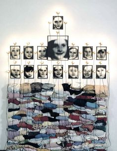 Photography installation of found photos and found objects by Christian Boltanski