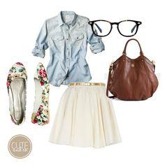 floral skirt oufit polyvore - Summer