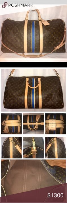"""LIKE NEW Louis Vuitton KEEPALL BANDOULIÈRE 55 Louis Vuitton KEEPALL BANDOULIÈRE 55. Condition: 9.25/10. Cabin size- L: 21.7 x H: 12.2 x W: 9.4"""" Photos are main part of description. Please review in detail and ask questions as needed. - includes original receipt/tags for $2,035 - Leather strap & handles - new & unopened lock & keys - CNT can be removed (YouTube it, there are a bunch of how to videos). - Includes all accessories shown           NO TRADES. Offers only entertained through OFFER…"""