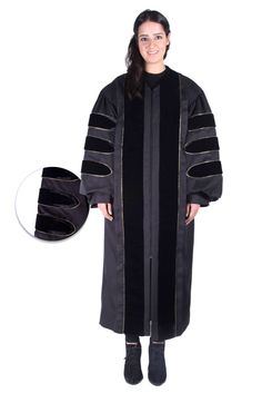 Premium Black PhD Gown for Graduation