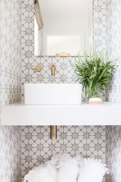 Love this sink - Maybe Pool Bath? - A gold trimmed vanity mirror hangs from a wall covered in Cement Tile Shop Atlas Tiles and fitted with an antique brass wall mount faucet positioned over a white porcelain square sink fixed to a white floating vanity. Beautiful Bathrooms, Modern Bathroom, Small Bathroom, Paint Bathroom, White Bathrooms, Bathroom Layout, Bathroom Ideas, Half Bathrooms, Bad Inspiration