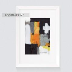 Modern abstract painting Original Acrylic paintings Abstract Square Painting Paper White Yellow Black  Wall Art Decor 8x12 inch by kuzennyArt on Etsy