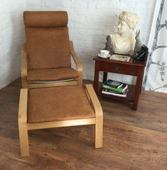 Distressed Leather Look Slip Cover Made For The Ikea Poang Chair Plus  Matching Poang Footstool Cover