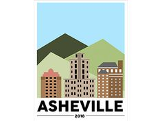 Small Asheville:   Illustrated Travel Poster Concept