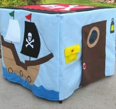 Pirate Playhouse made from felt and placed over a card table. I'm going to make a tablecloth for my dining room table