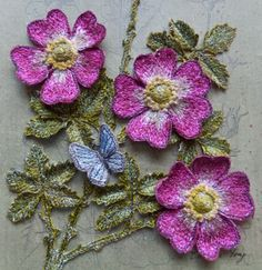 Botanical embroidery, 'Briar Rose' - 3d stumpwork, assemblage, textile art, by Corinne Young - www.corinneyoungtextiles.co.uk