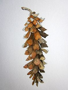 Winter Pinecone Giclee Print in Pen and Ink and Watercolor in umber, sepia, rust, black, gray, Botanical Print: