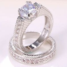 womens cubic zirconia 2 piece engagement wedding ring set sterling silver 7.5