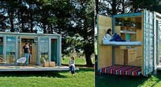 """Atelier Workshop's Port-a-bach is a portable retreat designed to have a low-impact use on its host landscape. The housing unit can be dropped on site by helicopter or delivered by truck and easily connects to local utilities. The container home unfolds to """"comfortably sleep"""" two adults and two children and has a bedroom and integrated kitchen and storage cupboards."""