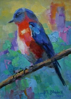 blue oil paintings | OIL PAINTING OF BLUE BIRD ABOVE IT ALL, original painting by artist ...