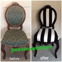 Antique walnut chair painted black & re-upholstered in black & white stripe www.facebook.com/Jomarievintagefurniture