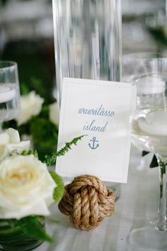 Nautical rope beach wedding centerpiece - beach-themed wedding centerpiece + table number- Check out more beach centerpiece inspiration on WeddingWire! {Melissa Oholedt Photography} Mod Wedding, Nautical Wedding, Wedding Table, Chucks Wedding, Table Cards, Wedding Gallery, White Decor, Wedding Images, Real Weddings