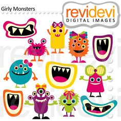 Girly Monsters Clipart are so cute for crafts, scrapbooking and invitations.