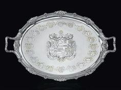 A George III parcel-gilt Tea Tray, Paul Storr, London 1809.