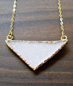 Vanilla Druzy Triangle Necklace 14k Gold by friedasophie on Etsy, $89.00