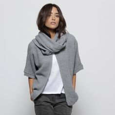 Comfy looking kimono jacket with attached scarf