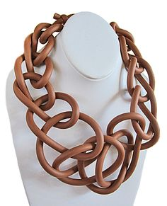 NEO: Neoprene Collar, large knit, caramel Comfy, stylish neoprene jewelry from NEO of Rome, Italy. Caramel large knit collar. Also available in grey and red (see separate listings).