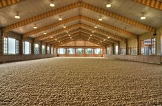 This really is indoor arena goals, the windows opening to allow air to flow through the summer months Dream Stables, Dream Barn, Horse Stables, Horse Farms, Horse Barn Designs, Horse Arena, Indoor Arena, Barn Plans, The Ranch