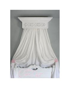 Bed Crown Canopy, Crib Crown, Teester, Cornice, White with Ornate Applique, Bedroom and Nursery Decor, Shabby Chic on Etsy, $149.95