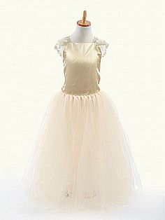 Sheer Cap Sleeved Satin and Tulle A Line Flower Girl Dress - USD $42.99