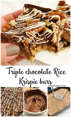 Triple chocolate Rice Krispie treats Easy Desserts, Delicious Desserts, Dessert Recipes, Yummy Food, Bar Recipes, Sweet Desserts, Drink Recipes, Rice Krispie Bars, Cookies