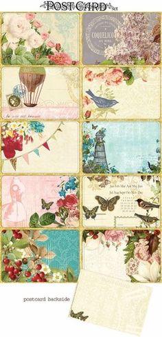 Love these free vintage postcard printables! Images Vintage, Vintage Diy, Vintage Labels, Vintage Cards, Vintage Paper, Vintage Postcards, Vintage Style, Printable Labels, Printable Paper