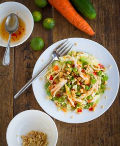 Asian Chicken Salad   lots of ingredients - wasabi paste, sesame oil. but looks so good!
