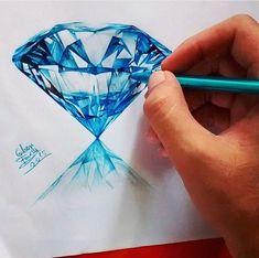 Diamond drawing by Gem Drawing, Diamond Drawing, Diamond Art, Cool Art Drawings, Pencil Art Drawings, Art Sketches, Jewellery Sketches, Jewelry Drawing, Jewelry Illustration