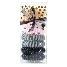 Shop Kitsch assortment of dent free coil hair ties in nude, pink, grey, and black colors