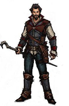 m Half Elf Warlock traveler Leather Armor Staff
