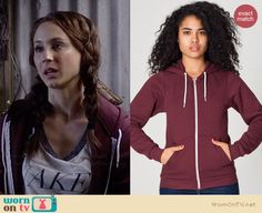 Spencer's burgundy hoodie on Pretty Little Liars.  Outfit Details: http://wornontv.net/34341/ #PLL