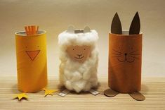 Funny trio: Easter animals from Klorollen - Diy and Crafts Mix Preschool Crafts, Diy Crafts For Kids, Easter Crafts, Arts And Crafts, Toilet Paper Roll Crafts, Easter Holidays, Decoration Table, Spring Crafts, Creations
