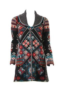 Ivko LARGE Long Jacquard Jacket - Pleated Back - Balkan Black