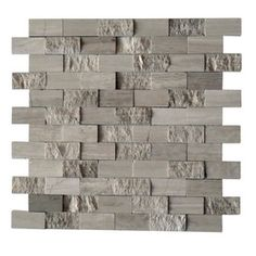 Cci Grey Marble Split Face Natural Stone Mosaic Subway Wall Tile (common: 12-in…