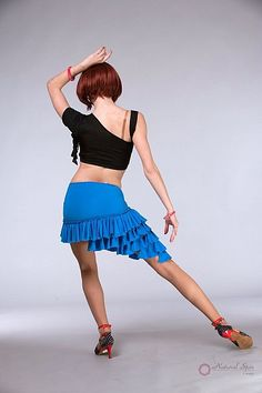 Natural Spin Signature Latin Skirt:  LS52_Blue