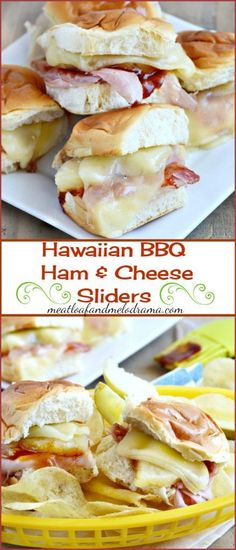 Hawaiian BBQ Ham and Cheese Sliders -- Made with ham, pineapple, barbecue sauce and cheese on sweet Kings Hawaiian rolls and perfect for an easy dinner, party appetizers or game day! (food for parties hawaiian rolls) King Hawaiian Rolls, Hawaiian Bbq, Kings Hawaiian, Rolled Sandwiches, Slider Sandwiches, Steak Sandwiches, Ham Cheese Sliders, Ham And Cheese, Hawian Roll Sliders