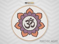 OM FLOWER counted cross stitch pattern, purple lotus mandala, easy aum symbol, yoga decoration, zen meditation, mantra PDF Instant Download