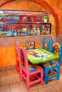 Tequila's got color, Mexico Mexican Style Kitchens, Mexican Kitchen Decor, Hacienda Kitchen, Mexican Restaurant Decor, Restaurant Design, Restaurant Ideas, Mexican Colors, Mexican Art, Mexican Hacienda