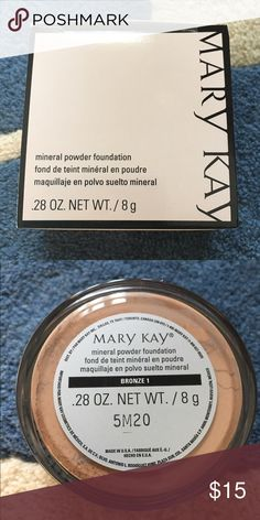 MK mineral powder foundation-bronze 1 Mary Kay mineral powder foundation in bronze 1. This mineral foundation feels light on skin, but gives you buildable natural coverage. Brand new! Mary Kay Makeup Face Powder