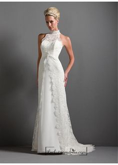 Beautiful Elegant Exquisite Sheath High-collar Wedding Dress In Great Handwork