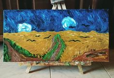 #painting #canvas #vangogh # vincent van gogh wheatfield  with crows #vincent #gogh #clouds #bird #birds #yellow #blue #brown #raven #tempest #grain #nature #expressionism #impressions #art #artist #artistic #oilpainting #oilcolors #death #last #grass #green #artwork #original #my