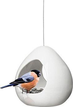 Sagaform White/Cream Ceramic Birdy Bird Feeder 5016504