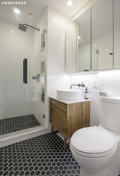 Well, here it is! Our finished bathroom.  Before and After: Ellen and Ben's Brooklyn Bathroom Renovation – Sweetened!
