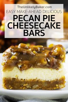 Looking for an easy, delicious, impressive holiday dessert? Bake pecan pie cheesecake bars. They're a breeze to make but always a hit with everyone. Most requested at Thanksgiving and Christmas. Creamy cheesecake on a pecan graham cracker crust with decadent caramel butter pecan pie topping. Follow along with video instructions and step-by-step photos. #thanksgivingdessert #pecanpiedessert #easyrecipe #holidaybaking Holiday Baking, Christmas Desserts, Easy Desserts, Delicious Desserts, Layered Desserts, Thanksgiving Desserts, Fall Baking, Pecan Pie Cheesecake, Cheesecake Recipes