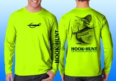 Neon yellow Offshore Slam performance shirt with logo's on front, back and sleeve,  Made in the USA.  Please like & share us on facebook. http://facebook.com/hookandhuntoutdoor